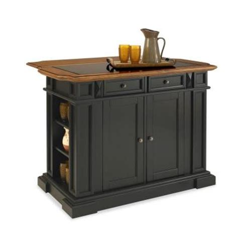 Homedepot Kitchen Island Home Styles Deluxe Traditions Kitchen Island In Black With Oak Top And Black Granite Inlay