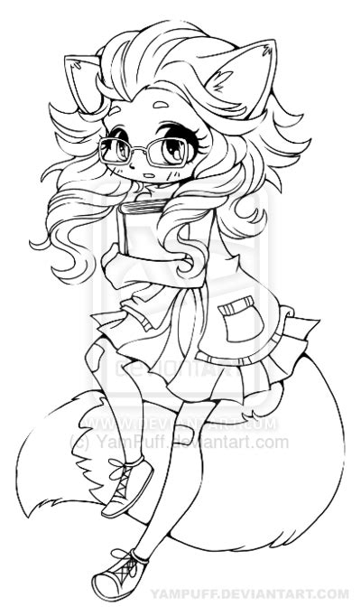 girl fox coloring page fox girl chibi lineart by yampuff deviantart com on