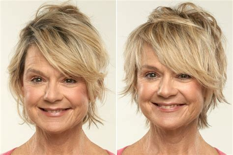 before snd after oval shapped face hair cuts short hair styles for fine hair