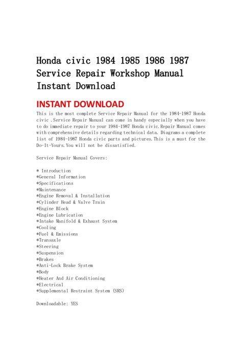 car owners manuals free downloads 1985 honda civic electronic throttle control honda civic 1984 1985 1986 1987 service repair workshop manual instan