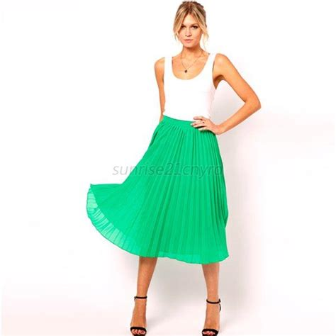 color summer chiffon pleated skirt mid