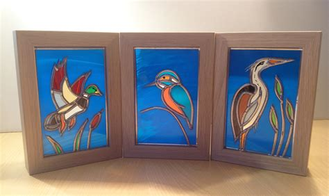 3 a5 framed birds wilkins glassartviv wilkins glassart