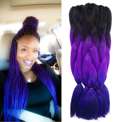 purple hair styles for black hair aliexpress com buy purple ombre kanekalon jumbo braiding