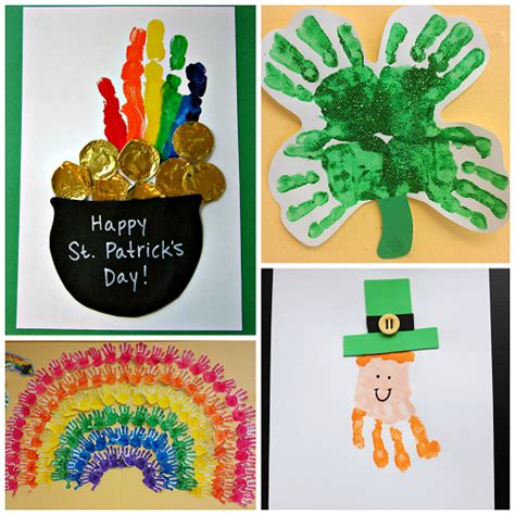 st patricks day crafts for st s day footprint handprint crafts for
