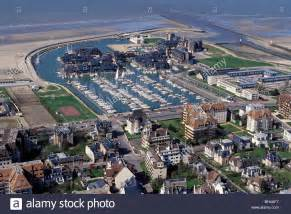 yacht club marina in the port of deauville aerial view