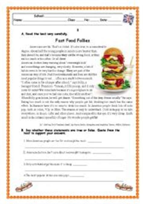reading comprehension test about food english worksheets tests and exams worksheets page 6
