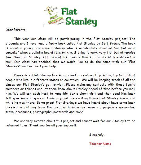 book report letter to parents flat stanley template flat stanley letter to parents