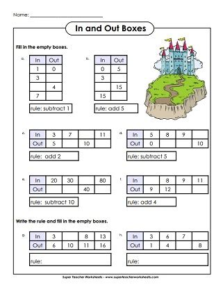 Input Output Worksheets by Math Worksheets Input Output Box Math Best Free