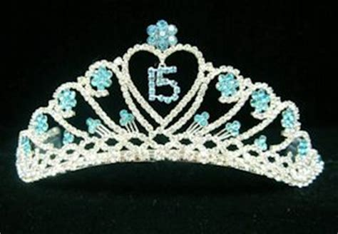 Quinceanera Flower Tiara in Turquoise   Sweet 15 Tiara in
