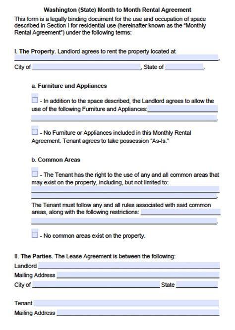rental agreement template washington state washington state rental lease agreement forms
