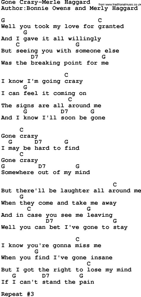 country music gone for good country music gone crazy merle haggard lyrics and chords