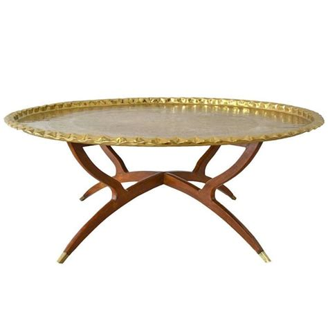 mid century brass tray top coffee table for sale at