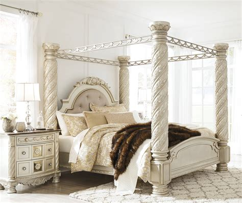 ashley furniture cassimore pc bedroom set  king poster canopy bed  classy home