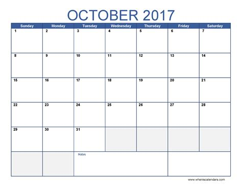 Calendar Of October October 2017 Calendar Template Printable Monthly Calendar