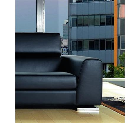 modern black leather sectional sofa dreamfurniture 553 modern black italian leather
