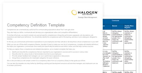 definition template competency definition template toolkit