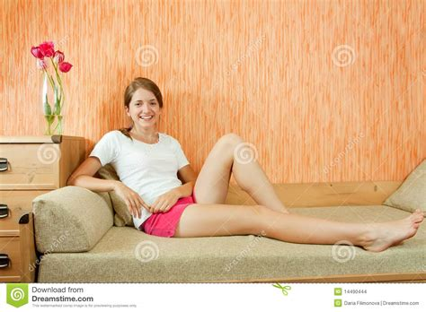 girl on the couch girl on sofa stock images image 14490444