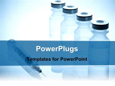 Powerpoint Template Medical Injection Drugs Medical Jars Liquids Fluids White And Blue Medicine Powerpoint Templates