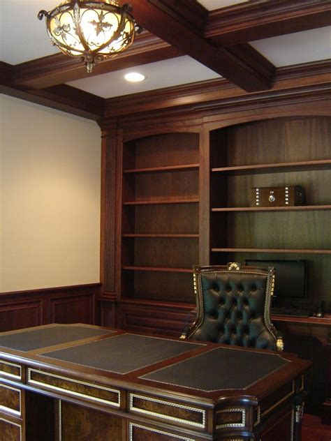 mens office ideas custom mahogany home office with wainscoting and beam