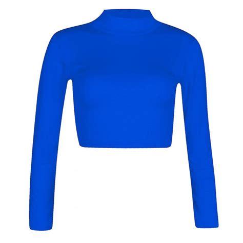 Crop Plain White Blue royal blue womens polo high neck sleeve plain crop top t shirt