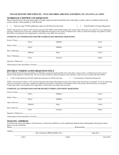 Atlanta Divorce Records Divorce Request Form Free