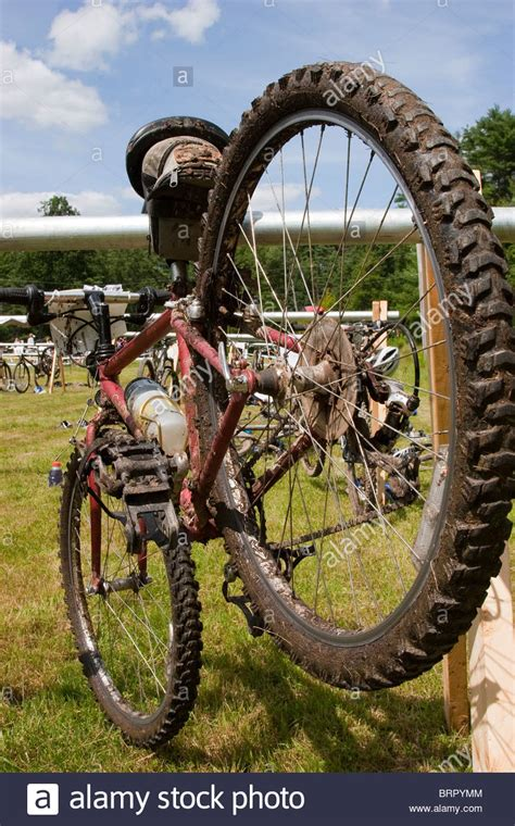 Covered Bike Rack by Mud Covered Bicycle On Bike Rack During Road Triathlon