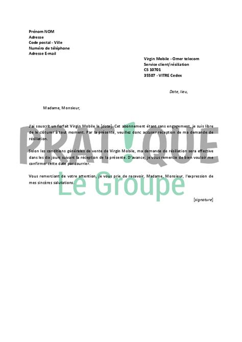 Lettre De R Siliation Mobile Et modele resiliation sosh document