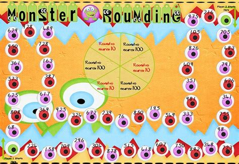 printable rounding games down under teacher monster rounding board game center or