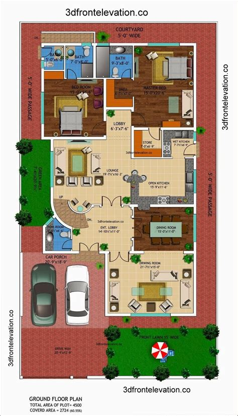 1 house plans 1 kanal house drawing floor plans layout with basement