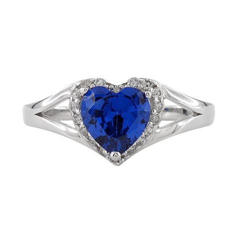 sterling silver shape blue sapphire cz ring