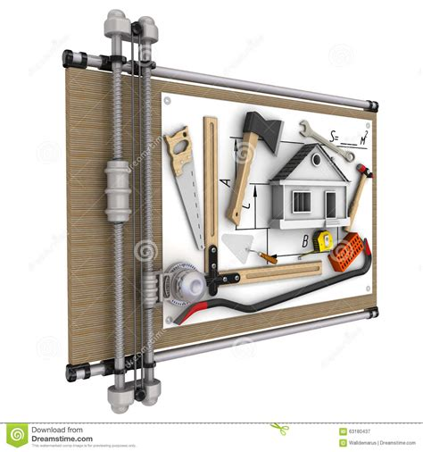 house drawing tool home construction concept stock illustration image