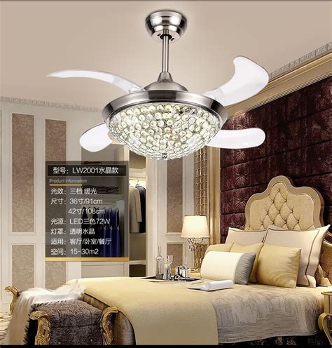 Invisible Crystal Chandelier Fan Light Dining Room Fan Living Room Ceiling Fans With Lights