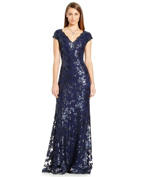 dress cap sleeve beaded sequin gown papell sequin embellished cap sleeve gown in blue