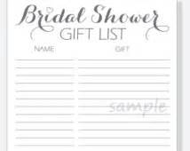bridal shower gift record template diy bridal shower gift list printable calligraphy script