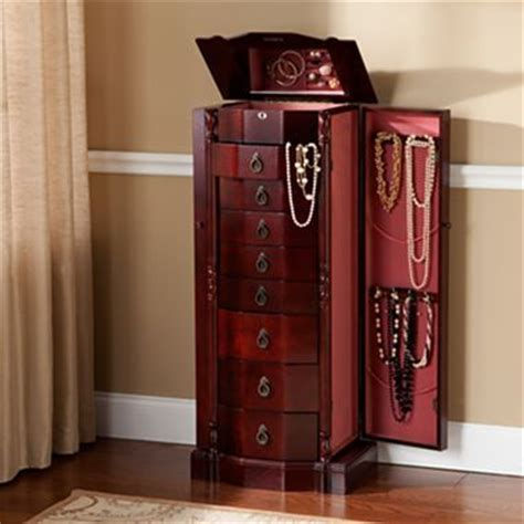 jewelry armoire cherry 8 drawer jcpenney 350 mirrored