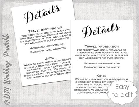 Free Enclosure Card Template by Wedding Details Enclosure Template Diy Calligraphy