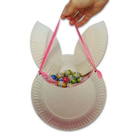Paper Plate Easter Basket Craft - easter bunny basket made of paper plates easter craft