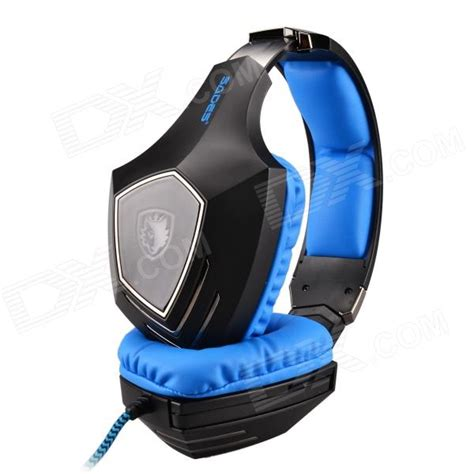 Headset Sades A60 Sades A60 Wired Gaming Headset W Retractable Microphone Glittering Led Black Blue 220cm