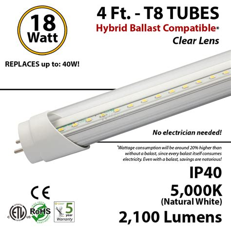led t8 ls without ballast 4 ft led tube hybrid ballast compatible 5000k replace
