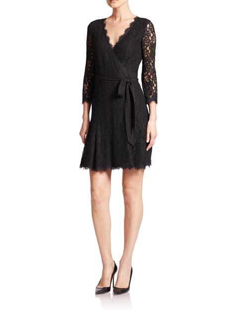 Dress Vonny Black lyst diane furstenberg julita lace wrap dress in black