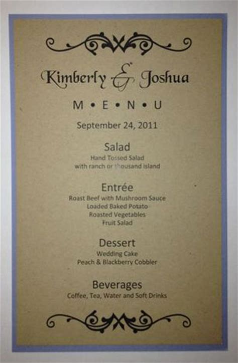 wedding menu sles templates half sheet wedding menu template 1