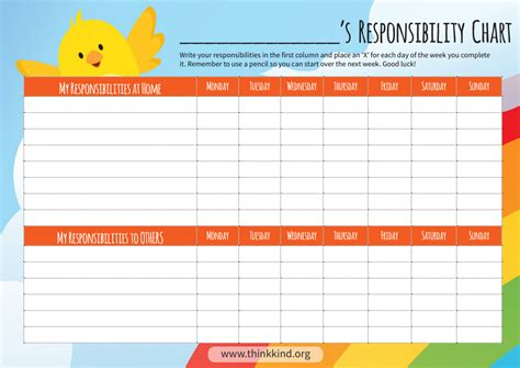 printable responsibility chart thinkkind