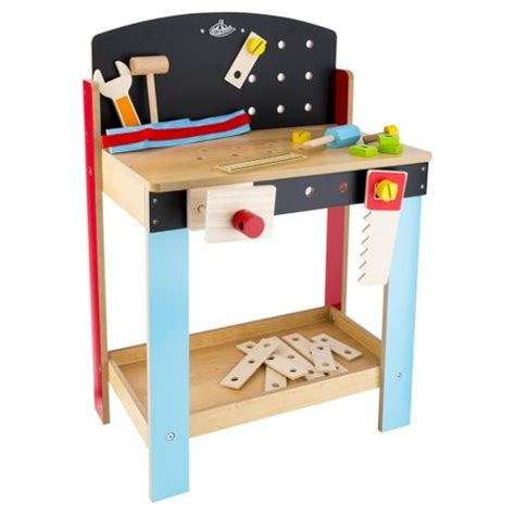 boys wooden tool bench carousel wooden tool workbench kids boys toy playset belt hammer saw box damage ebay