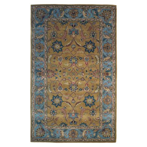 Wool Area Rugs 5 X 8 Handmade Wool Gold Blue 5 X 8 Lt1014 Area Rug
