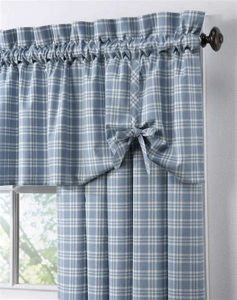 Blue Burlap Curtains Country Curtains Country Plaid Cotton Casual Curtain Panel Curtainworks My Likes