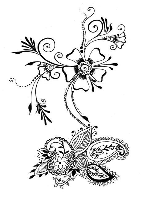 henna tattoo wall art 8x10 print flower seed henna floral design ink
