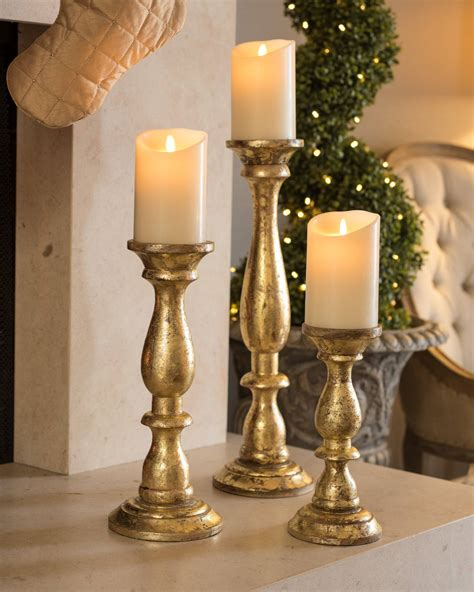 Gold Pillar Candle Holders Gold Wood Pillar Candle Holders Set Of 3 Balsam Hill