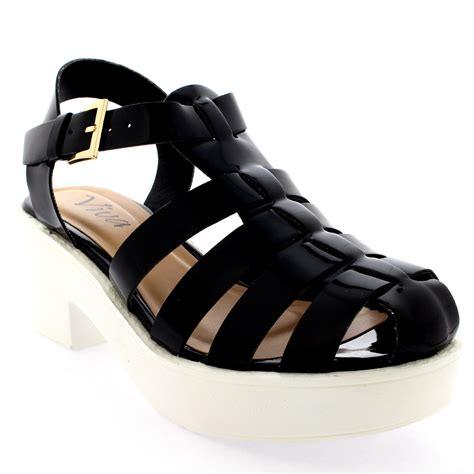 womens mid heels festival gladiator platform shoes chunky