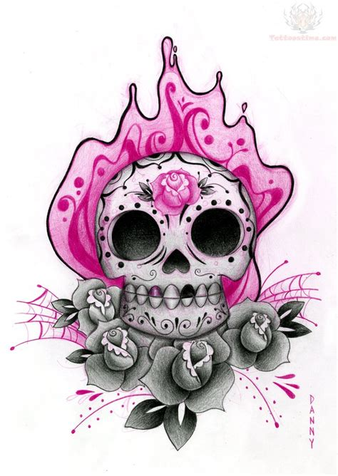 girly skull tattoo designs sugar skull and pink flower design