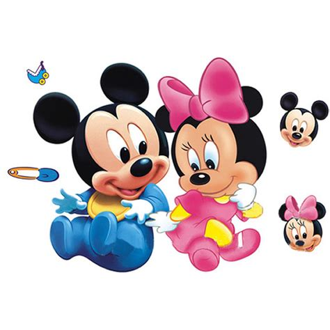 wall sticker baby meget s 248 d wallsticker med baby mickey minnie mouse
